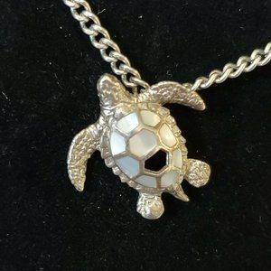 """Silver Sea Turtle Mother Of Pearl Necklace 18"""""""